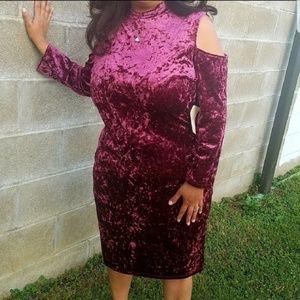 burgundy Crushed Velvet cold shoulder dress NWT